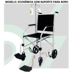 Cadeira de Rodas Mod. Economica com Suporte para Soro