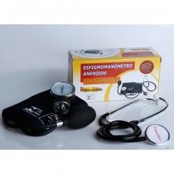 Esfigmomanômetro Aneróide com Estetoscópio Premium - Braçadeira com Fecho em Metal