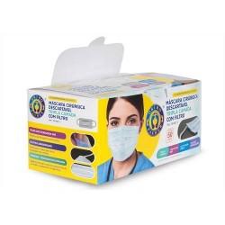 Máscaras Cirúrgicas Tripla Descartável - Elástico 50 unidades