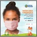 Máscaras Cirúrgicas Tripla Descartável INFANTIL ROSA