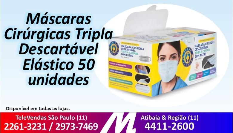 Mascaras Cirurgicas Tripla Descartavel Elastico 50 unidades